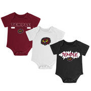 Newborn & Infant Colosseum Garnet/Black/White Temple Owls Triple Play 3-Pack Bodysuit Set