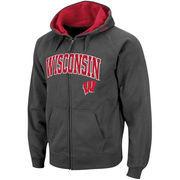 Men's Stadium Athletic Charcoal Wisconsin Badgers Arch & Logo Full Zip Hoodie