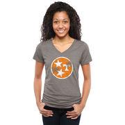 Women's Ash Tennessee Volunteers State Flag Tri-Blend V-Neck T-Shirt