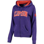 Women's Purple Clemson Tigers Arched Name Full Zip Hoodie