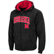 Men's Stadium Athletic Black Nebraska Cornhuskers Arch & Logo Full Zip Hoodie