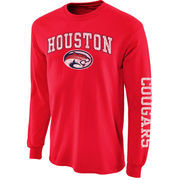 Men's New Agenda Scarlet Houston Cougars Distressed Arch & Logo Long Sleeve T-Shirt