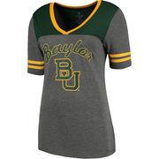 Women's Colosseum Heathered Gray Baylor Bears Twist V-Neck T-Shirt