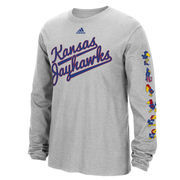 Men's adidas Gray Kansas Jayhawks Vault Evolution Long Sleeve T-Shirt