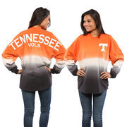 Women's Tenn Orange Tennessee Volunteers Ombre Long Sleeve Dip-Dyed Spirit Jersey