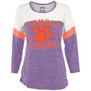 Women's Purple Clemson Tigers Hanoi Knobi Three-Quarter Sleeve T-Shirt