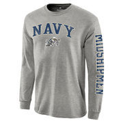 Men's Fanatics Branded Gray Navy Midshipmen Distressed Arch Over Logo Long Sleeve Hit T-Shirt