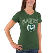 Women's New Agenda Heathered Green Colorado State Rams Big Arch & Logo Ring Spun T-Shirt