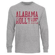Mens Alabama Crimson Tide Heather Gray Straight Out Long Sleeve T-Shirt