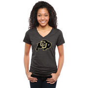 Women's Black Colorado Buffaloes Classic Primary Tri-Blend V-Neck T-Shirt