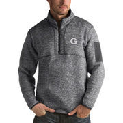 Men's Antigua Heathered Charcoal Georgetown Hoyas Fortune 1/2-Zip Pullover Sweater