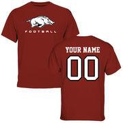 Men's Cardinal Arkansas Razorbacks Personalized Football T-Shirt