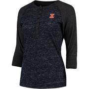 Women's Colosseum Navy Illinois Fighting Illini Split 3/4-Sleeve Raglan Henley T-Shirt