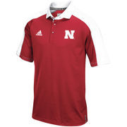 Men's adidas Scarlet/White Nebraska Cornhuskers 2016 Football Coaches Sideline climalite Polo