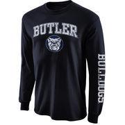 Men's New Agenda Navy Blue Butler Bulldogs Distressed Arch & Logo Long Sleeve T-Shirt