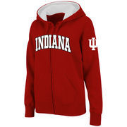 Women's Stadium Athletic Crimson Indiana Hoosiers Arched Name Full-Zip Hoodie