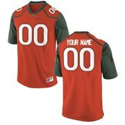Nike Mens Miami Hurricanes Custom Replica Football Jersey - Orange