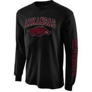 Mens Arkansas Razorbacks Black Arch & Logo Long Sleeve T-Shirt