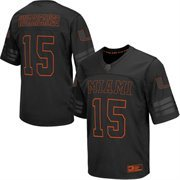 Men's Colosseum #15 Black Miami Hurricanes Blackout Football Jersey