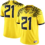 Men's Nike #21 Yellow Oregon Ducks Limited Football Jersey