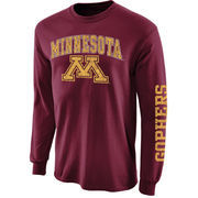 Mens Minnesota Golden Gophers Maroon Arch & Logo Long Sleeve T-Shirt