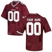 Under Armour Temple Owls Custom Men's Replica Jersey - Red
