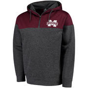 Men's Colosseum Maroon/Charcoal Mississippi State Bulldogs Top Gun Quarter-Zip Pullover Hoodie