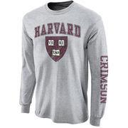 Mens Harvard Crimson Gray Big Arch N' Logo Love Sleeve T-Shirt