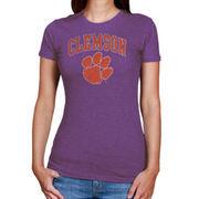 Women's New Agenda Heathered Purple Clemson Tigers Big Arch & Logo Ring Spun T-Shirt