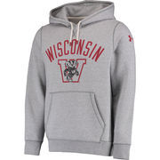 Men's Under Armour Heathered Gray Wisconsin Badgers Iconic Performance Hoodie