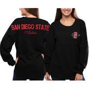 San Diego State Aztecs Women's Black Pom Pom Jersey Oversized Long Sleeve T-Shirt