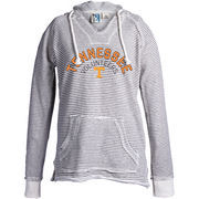 Women's Blue 84 Cream Tennessee Volunteers Striped French Terry V-Neck Pullover Hoodie