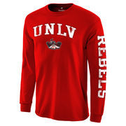 Men's Red UNLV Rebels Distressed Arch Over Logo Long Sleeve Hit T-Shirt