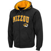 Men's Black Missouri Tigers Arch & Logo Full Zip Hoodie
