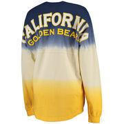 Women's Venley Navy Cal Bears Tess Tri-Color Football Long Sleeve Oversized Top