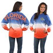 Women's Royal Florida Gators Ombre Long Sleeve Dip-Dyed Spirit Jersey