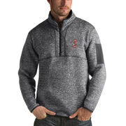 Men's Antigua Heathered Charcoal Stanford Cardinal Fortune 1/2-Zip Pullover Sweater