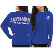 Women's Kansas Jayhawks Blue Aztec Sweeper Long Sleeve Oversized Top