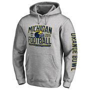 Men's Fanatics Branded Heather Gray Michigan Wolverines 2016 Orange Bowl Bound Playbook Pullover Hoodie