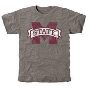 Men's Gray Mississippi State Bulldogs Classic Primary Logo Tri-Blend Short Sleeve T-Shirt