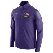 Men's Nike Heathered Purple LSU Tigers 2016 Elite Coaches Dri-FIT 1/2 Zip Jacket