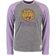 Men's Original Retro Brand Heathered Gray/Heathered Purple LSU Tigers Tri-Blend Raglan Long Sleeve T-Shirt