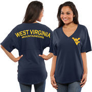 Women's Navy West Virginia Mountaineers Spirit Jersey Oversized T-Shirt