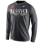 Men's Nike Anthracite Clemson Tigers College Football Playoff 2016 National Champions Locker Room Long Sleeve T-Shirt