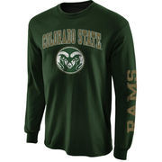 Mens Colorado State Rams Green Arch & Logo Long Sleeve T-Shirt