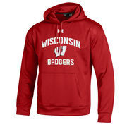 Men's Under Armour Red Wisconsin Badgers MVP Logo Pullover Hoodie