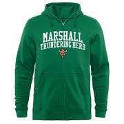 Men's Kelly Green Marshall Thundering Herd Arched School Name & Mascot Full-Zip Hoodie
