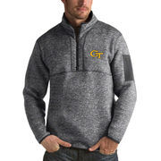 Men's Antigua Heathered Charcoal GA Tech Yellow Jackets Fortune 1/2-Zip Pullover Sweater