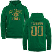 Men's Kelly Green Colorado State Rams Personalized Distressed Football Pullover Hoodie