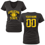 Women's Black Appalachian State Mountaineers Personalized Distressed Football Tri-Blend V-Neck T-Shirt